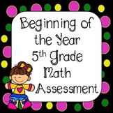 Back to School -  Beginning of the Year 5th Grade Task Cards & Worksheets CCSS