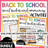 Back to School Beginning of Year Activities Community and Social Studies Bundle