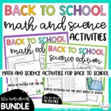 Back to School Beginning of the Year Activities Math and Science Bundle