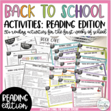 Back to School Beginning of the Year Activities: Reading Edition!