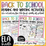 Back to School Beginning of the Year Activities: Reading and Writing Bundle
