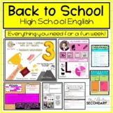 Back to School   Beginning of the Year Activities for High School English
