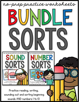 Beginning Sounds and Numbers 1 to 10 Sort BUNDLED