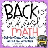 Back to School Activities Back to School Math Activities First Week of School