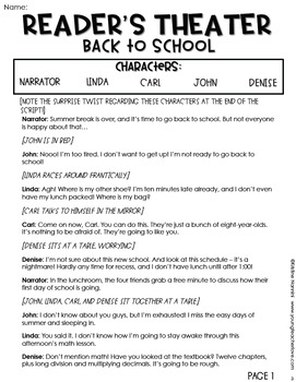 Back to School | Beginning of the Year Reader's Theater Plays and Scripts