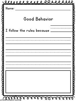 Back to School Behavior Activities {Lesson, Writing, & Sort}