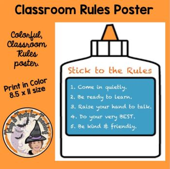 Back to School Behavior Management Poster Stick To the Rules Classroom Rules