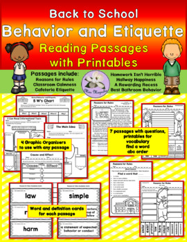 Back to School Behavior and Etiquette Reading Pack