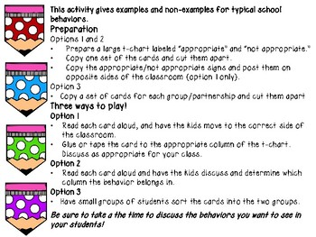 Back to School Behaviors Sort:  What to do--or not!