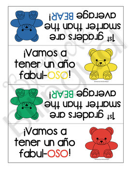 Back to School Bilingual Bear Snack Signs