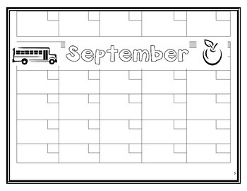 Back to School Binder - Calendar