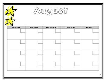 Back to School Binder - Calendar