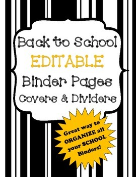 Back to School Binder Pages Covers and Dividers Editable