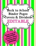 Back to School Binder Pages EDITABLE  FREEBIE