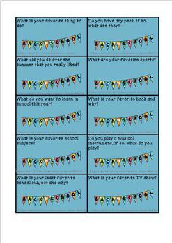 Back to School Activities for Getting to Know Each Other FREEBIE  5-7 & Sp.Ed.