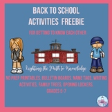 Back to School Activities for Getting to Know Each Other F