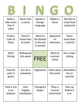 Back to School Activity - Bingo