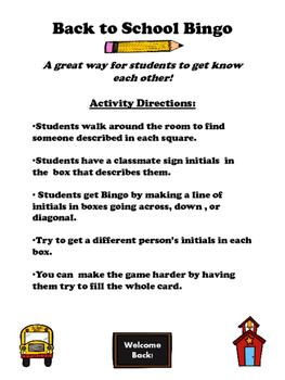 Back to School Bingo- Getting to Know You
