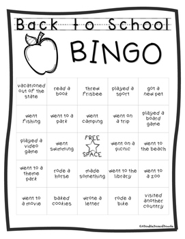 Back to School Bingo Freebie
