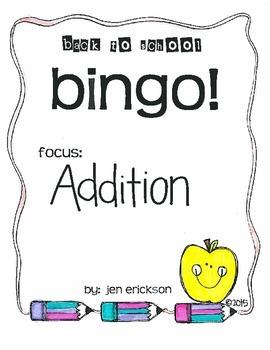 Back to School Bingo:  Addition