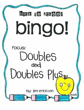 Back to School Bingo:  Doubles and Doubles Plus