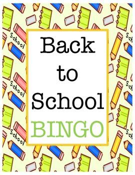 Back to School Bingo, First Day of School