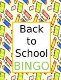 Back to School Bingo, First Day of School, Fully Editable