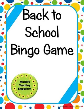 Back to School Bingo Game