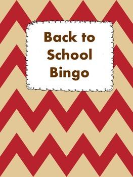 Back to School Bingo Game Worksheet