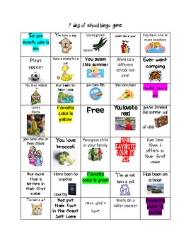 Back to School Bingo Game to Get to Know Students
