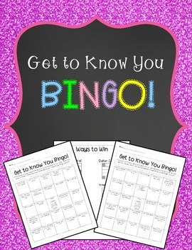 Back to School Bingo - Get to Know You Activity