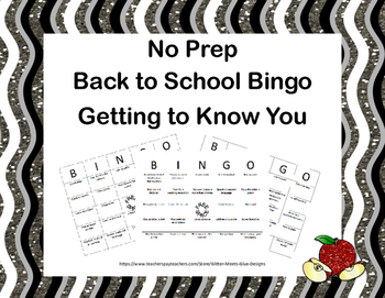 Back to School Bingo-Getting to Know You-No Prep