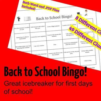 Back to School Bingo Icebreaker / Warm Up