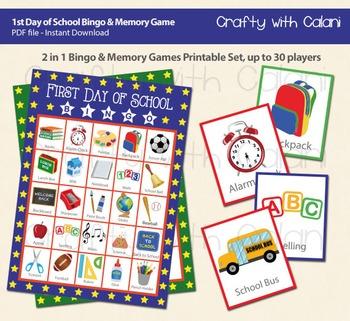 Back to School Bingo & Memory Game, First Day of School Printable Bingo & Memory