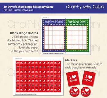 photo about Back to School Bingo Printable called Back again in direction of University Bingo Memory Sport, Initially Working day of Faculty Printable Bingo  Memory
