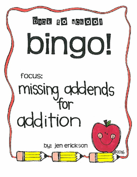 Back to School Bingo: Missing Addends for Addition