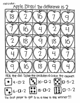 Back to School Bingo:  Missing Addends for Subtraction