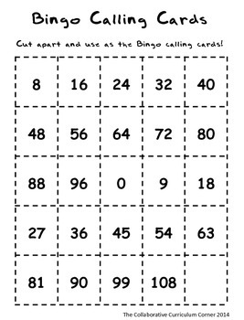 Back to School Bingo - Multiplication 8's and 9's Facts