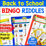 Back to School Bingo Riddles Game Beginning of the Year Ac