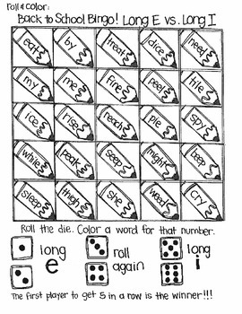 Back to School Bingo:  Short and Long Vowels