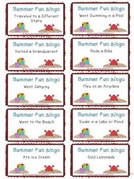 Back to School Bingo Game - Summer Fun