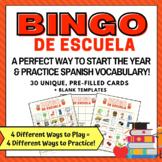 Back to School Bingo in Spanish   Bingo de Escuela   Loter