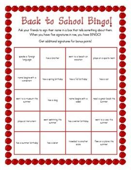 Back to School Bingo/Scavenger Hunt - Editable!