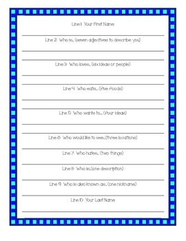 Back to School Bio Poem
