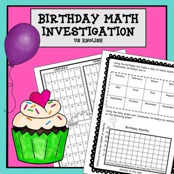 Birthday Math Investigation No Prep US