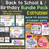 Back to School & Birthday Student Gift Tags Bundle (Plus B