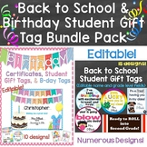Back to School & Birthday Student Gift Tags Bundle (Plus Birthday Certificates)