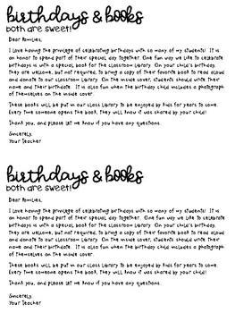 Back to School Birthdays & Books Letter - Editable