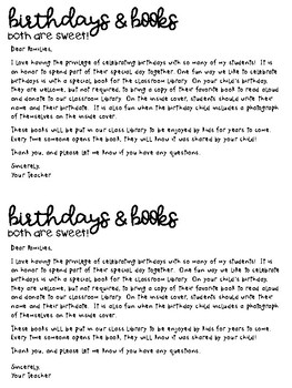 Birthdays & Books Letter