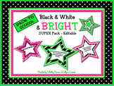 Back to School Black & White & Bright Editable SUPER Pack